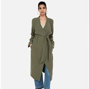 NWT Express Soft Trench Coat Green Small